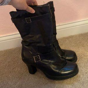 Mid-Calf Black Heeled Boots